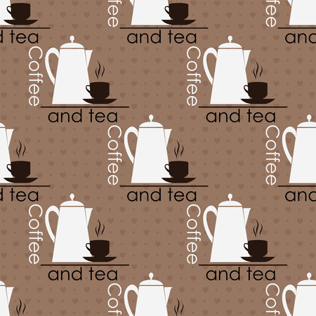 espresso: Seamless brown pattern with cups and teapots