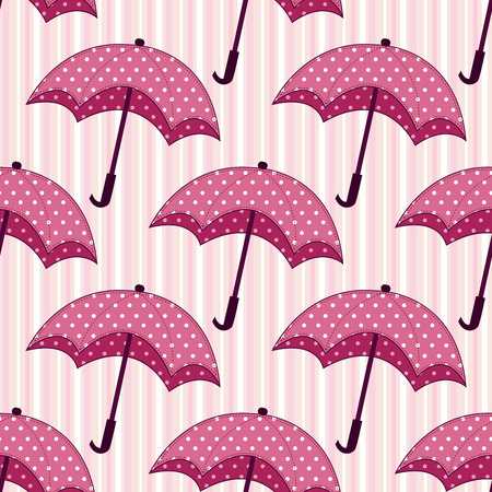 striped: seamless pattern with pink umbrellas on striped background Illustration