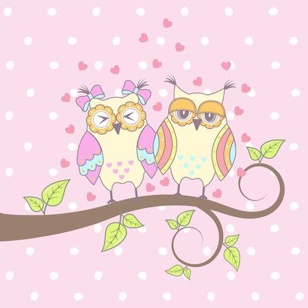 sowa: Piękne karty z sowy w miłości na oddział Ilustracja