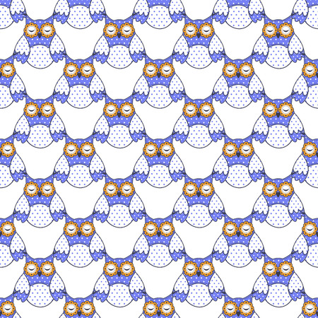 baby sleep: Seamless texture with blue owls on a white background