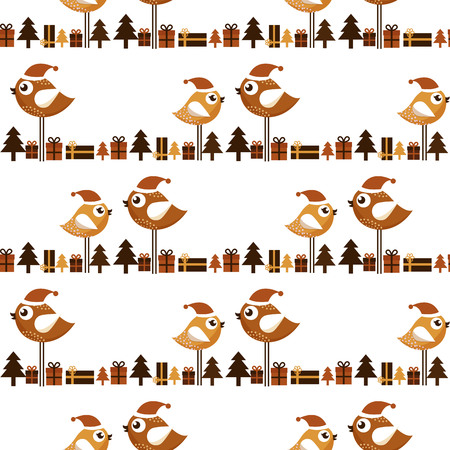 christmas gifts: Seamless Christmas pattern with birds and gifts
