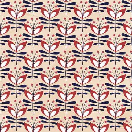 colour pencil: Beautiful seamless pattern with red flowers