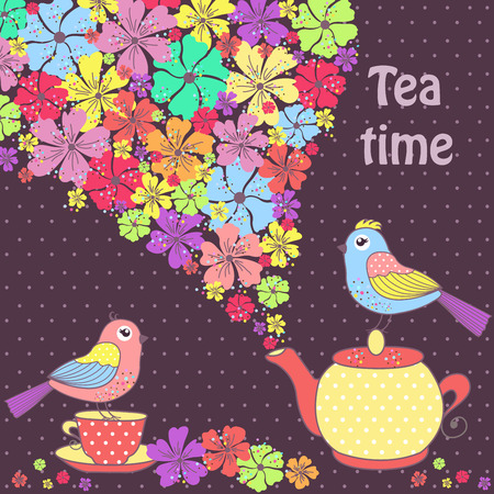 afternoon: Beautiful pattern postcard with birds, and a cup of tea on a purple background with flowers
