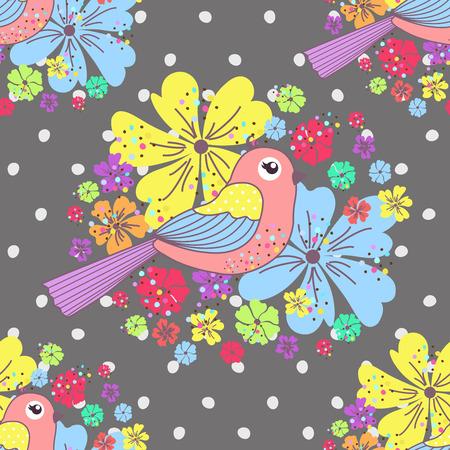 paloma caricatura: Modelo incons�til con los p�jaros y las flores en un lunares en un fondo gris Vectores