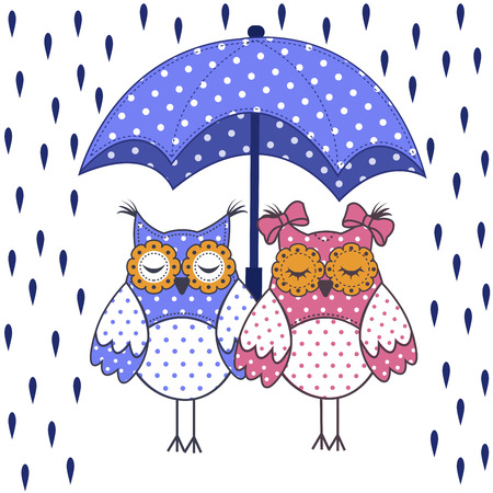 흰색 배경에 빗 속에서 우산을 가진 올빼미의 부부 사랑 일러스트