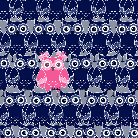 owl family: Seamless pattern with blue and pink owls