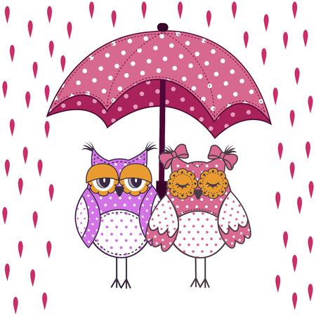 familia animada: amantes de la pareja de búhos con el paraguas en la lluvia sobre un fondo blanco