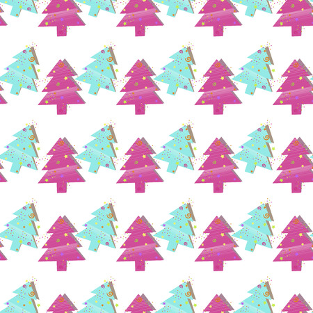 christmas wrapping: Christmas seamless pattern with Christmas trees on a white background