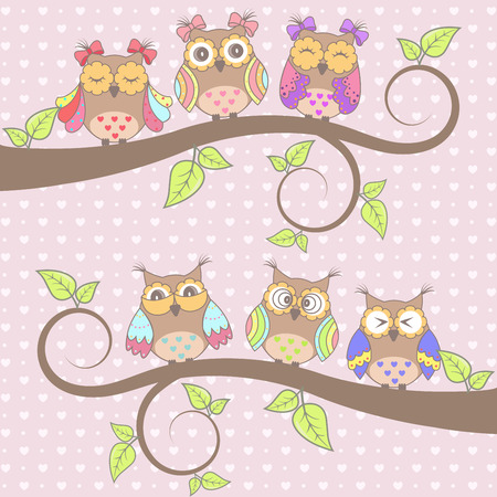cute wallpaper: Beautiful card with owls in love on branch