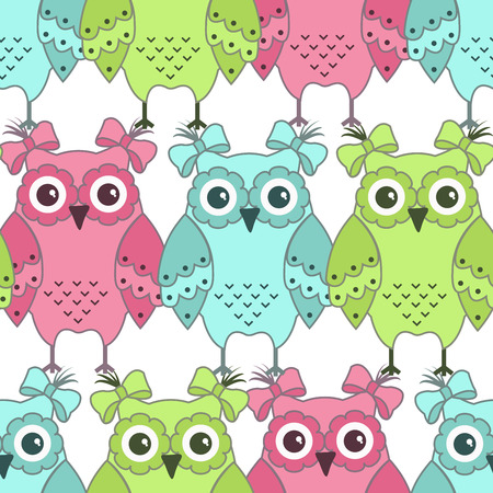 funny love: Seamless pattern of colorful owls on a white background