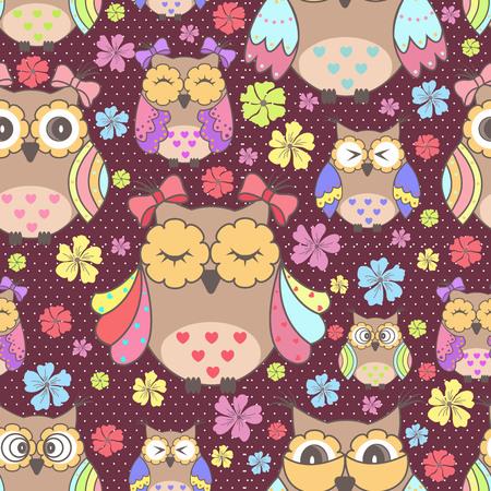 animal print: Papel pintado inconsútil hermosa con búhos y flores sobre un fondo morado