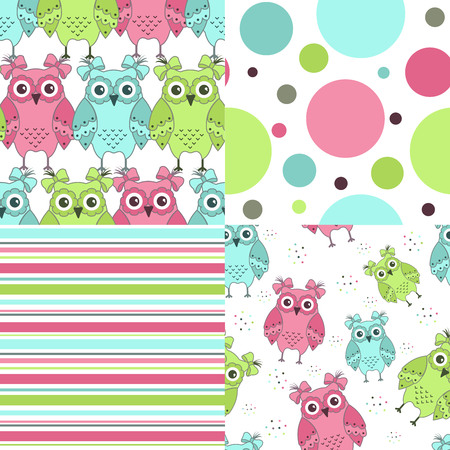 fabric samples: Four samples of fabric with owls on a white background Illustration