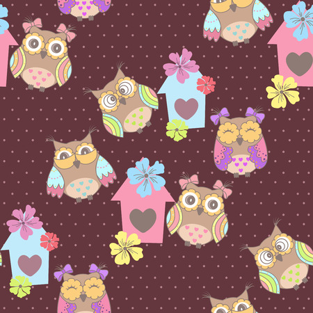 springtime: Beautiful seamless pattern with cute owls and birdhouse Illustration