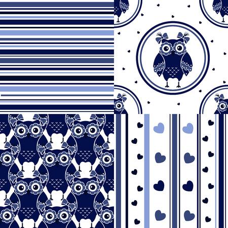 computadora caricatura: Cuatro conjunto sin fisuras con los búhos en colores azul y blanco Vectores