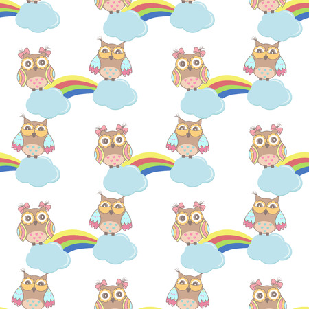 owl vector: Seamless pattern with clouds, rainbow owls on a white background Illustration