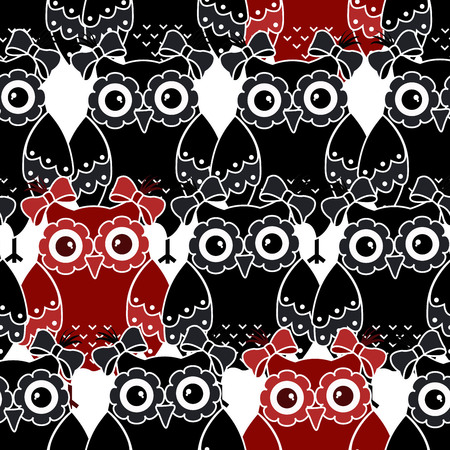 love image: Seamless pattern with black and red owls