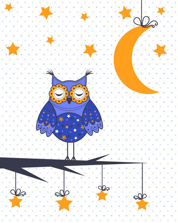 funky: A sample of an owl in a tree with the moon and stars Illustration