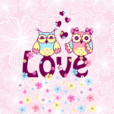 cute couple: Beautiful card with owls in love on branch on a pink lace background