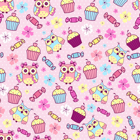 cake background: Seamless pattern with cute owls, cakes and chocolates on a pink background Illustration