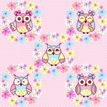 flower nursery: Beautiful pattern with owls and flowers on a pink background