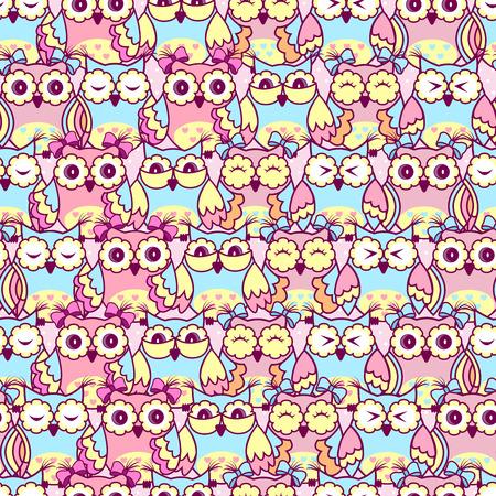 Nahtlose Muster Rosa Eulen auf einem rosa Hintergrund