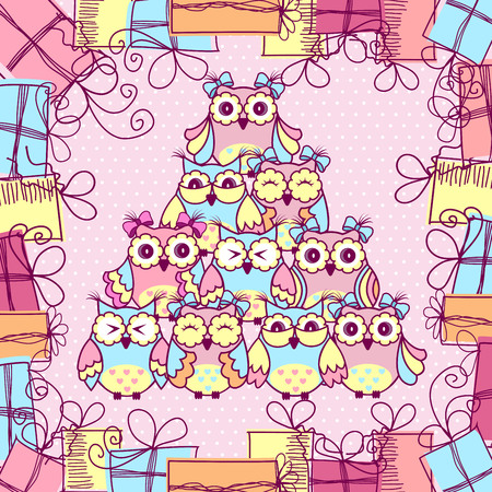 owl family: Beautiful pattern postcard with owls and gifts on pink background