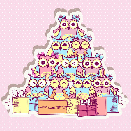 bird illustration: Beautiful pattern postcard with owls and gifts on pink background