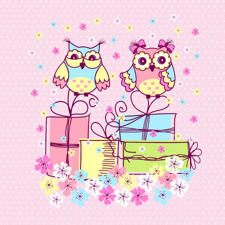 postcard background: Beautiful pattern postcard with owls and gifts on pink background