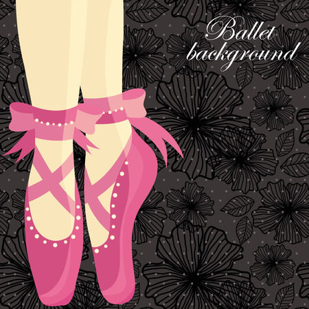 ballet slipper: Beautiful feet of a ballerina in pointe shoes on a black background with patterns