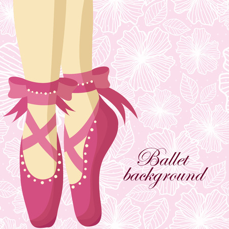 Beautiful feet of a ballerina in pointe shoes on a pink background with patterns Illustration