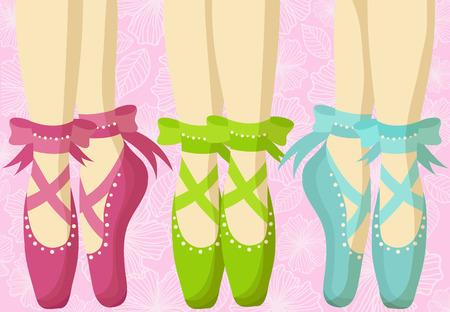zapatillas ballet: Postal con hermosos pies en punta Vectores