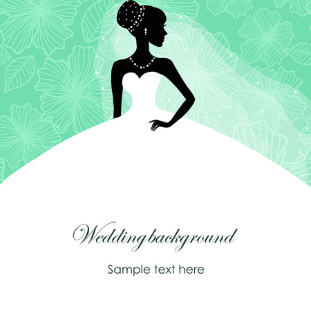 profile silhouette: A beautiful silhouette of a bride in a dress on a turquoise background with patterns