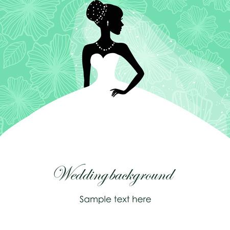 cérémonie mariage: Une belle silhouette d'une jeune mariée dans une robe sur un fond turquoise avec des motifs