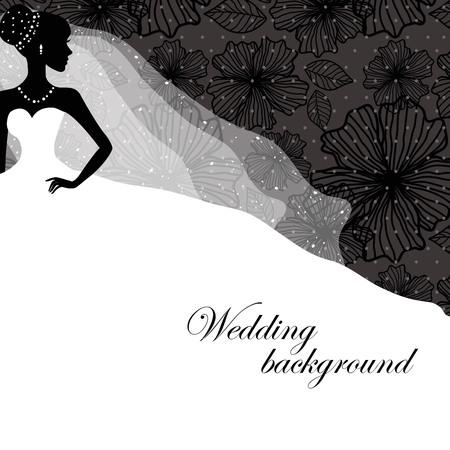 婚禮: 的新娘禮服美麗的剪影在黑色的背景圖案