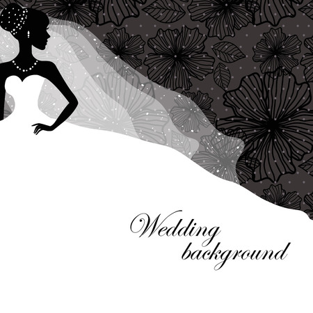 cartoon bouquet: A beautiful silhouette of a bride in a dress on a black background with patterns
