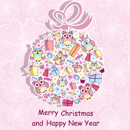 pink christmas: Beautiful Christmas background with owls, sweets, gifts on pink background with a pattern