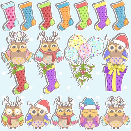 owl family: Christmas set of owls, gifts, Christmas socks and balloons