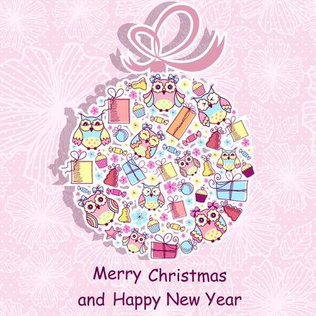 pink background: Beautiful Christmas background with owls, sweets, gifts on pink background with a pattern
