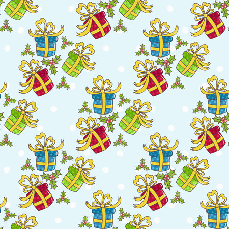 birthday presents: Christmas seamless pattern with gifts on a blue background Illustration