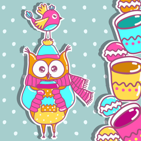 owl vector: Sample cards with an owl, with cups and cakes Illustration