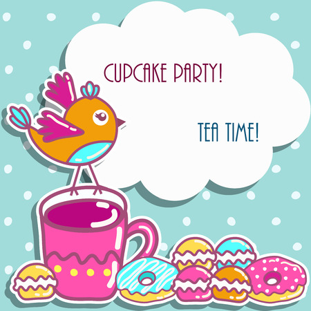 party invitation: Sample cards with an bird, with cups and cakes