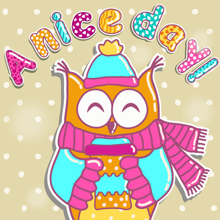 afternoon: Sample cards with an owl, with cups
