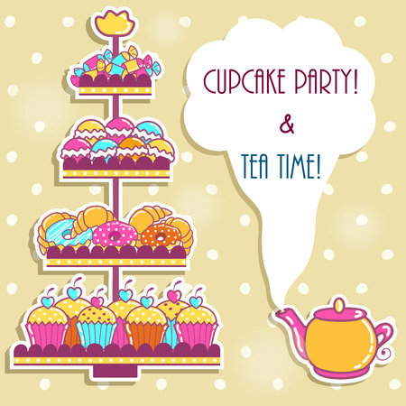 afternoon: Sample cards with a tea party and sweets Illustration