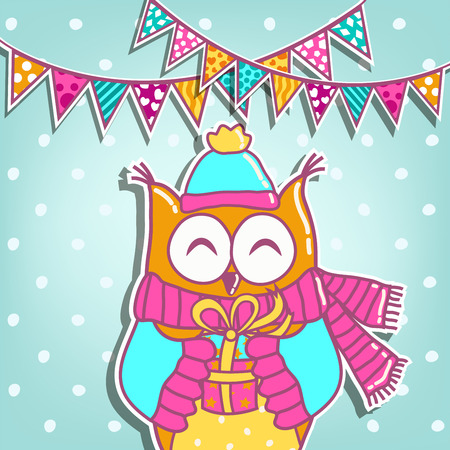 owl symbol: Sample cards with an owl, with with a gift