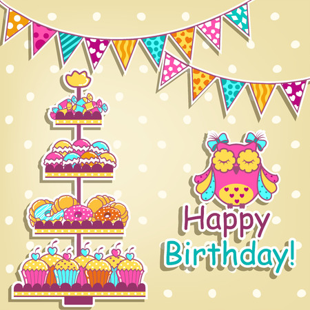 cake background: Set for a birthday on a white background Illustration