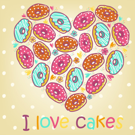 cartoon cake: Sample cards and cakes on a beige, mottled background