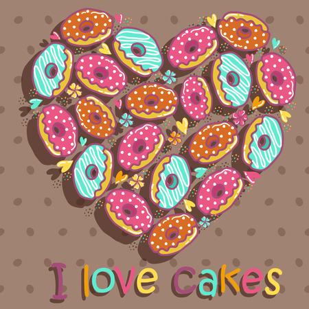 mottled: Sample cards and cakes on a brown mottled background