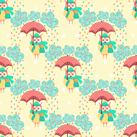 owl illustration: Seamless pattern with clouds and owls with an umbrella