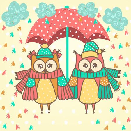 familia animada: amantes de la pareja de búhos con el paraguas en la lluvia Vectores