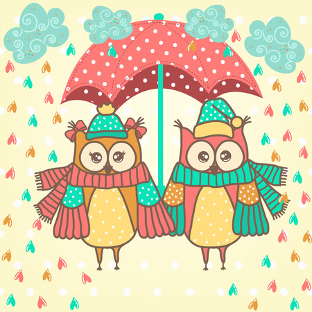 rain cartoon: loving couple of owls with umbrella in the rain